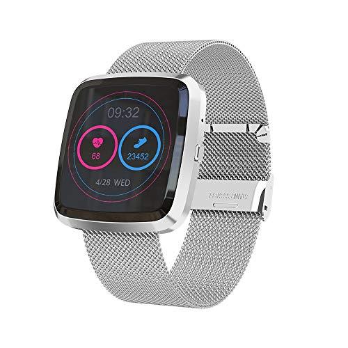 TYOP Smart Watch, Detección de sueño Ladies Impermeable Pulsera usable Inteligente, Pretometer Pulsera Deportiva (Color : Silver)