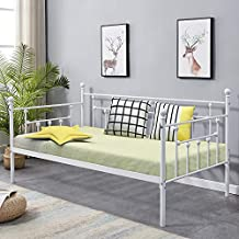 VECELO Daybed Victorian Style Multifunctional Metal Platform with Headboard ,Frame Twin Size Mattress Foundation/Children Bed Sofa for Guest Living Room