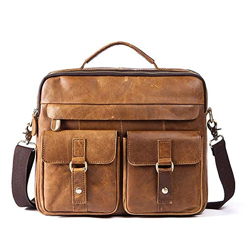 GYYY Literal Leather Men's Bags Retro Men's One-Shoulder Bags with Head Covering Cowhide Leather Briefcase for Men (Color : Brown, Size : S)