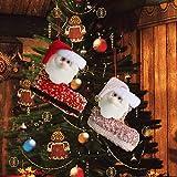 Decoración colgante de árbol de Navidad, 2 calcetines de caramelo, con lentejuelas, diseño de Papá Noel Kawaii Santa Claus pequeño colgante, decoración de vacaciones, hogar, cocina, invierno, chimenea