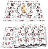 Tovagliette Set di 4 Tovagliette in poliestere resistenti alle macchie in poliestere con motivo elefante Cartone animato Tovaglietta lavabile Decorazione per casa, cucina, ufficio Bianco Rosa