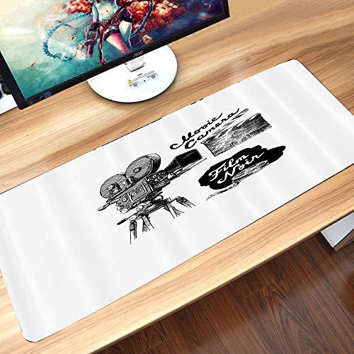 Gaming-Mauspad Gummiunterseite,Kino, antike Filmkamera handgezeichneten Stil Art Film Noir Genre thematische,Schreibtischunterlage Abwischbar Anti Rutsch Matte Multifunktionales Office Mousepad60x35cm