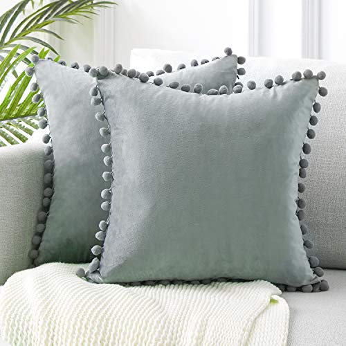Topfinel Grey Velvet Cushion Covers 26x26 Inch Large Square Decorative Throw Pillowcases for Livingroom Sofa Bedroom 65cmx65cm,Pack of 2