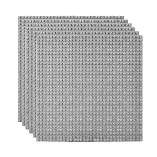 Lekebaby 6 Platten-Set Bauplatte Kompatibel mit Meisten Marken, 25*25cm, Graue Grundplatte