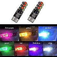 LED 車T10 W5W 12V RGB LEDの雰囲気ランプヘッドライトウェッジ装飾ライトリモートコントローラーインテリアライト電球自動車アクセサリー 車のための照明 (Color Temperature : RGB)