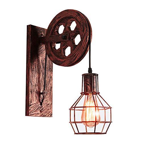 QXPuSS Lámpara De Pared Retro E27 Aplique De Pared Rústico Tipo Loft, Decoracion Pared Vintage,Interior, Apliques De Jaula De Metal Lámpara De Pared Interior Para El Hogar Lámpara Retro-A