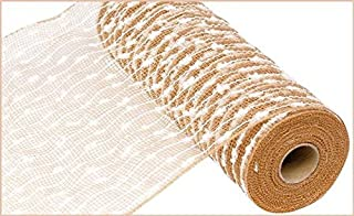 10 inch x 30 feet Poly Jute Snowball Mesh Ribbon (Natural White) : RY820248