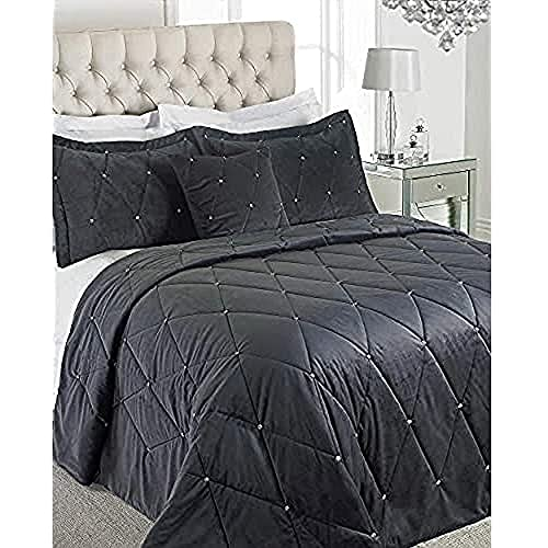 Riva Home Paoletti New Diamante Bedspread Set - Zinngrau - Diamante Kristall Pailletten - Gesteppte Geometric Design - 2 X Kissen Shams Inklusive - 100prozent Polyester - 220 X 240 cm (87
