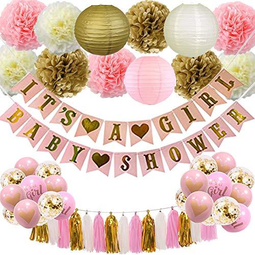 XIXIHY Dekorationen Papierlaterne Luftballons Folienquaste Babyparty Deko Mädchen, Rosa und Gold Baby Shower Dekorationen Es ist EIN Mädchen & Baby Shower Banner Pompoms Blumen Ball