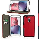 igadgitz U5880 Rojo PU Cuero Funda Cartera Tapa Carcasa Piel Compatible con Motorola Moto G4 Play XT1601 4a Gen 2016 Con Soporte + Protector Pantalla