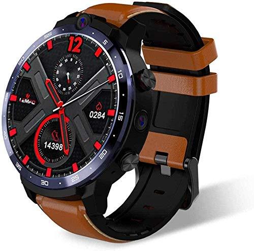 MHPO Reconocimiento facial, 3 + 32G, monitoreo de la frecuencia cardíaca y la presión arterial, notificación de llamadas de mensaje ip68, cámara dual GPS posicionamiento reloj inteligente marrón
