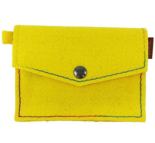 Venetto Mini Filz Portemonnaie Geldbörse Geldbeutel Brieftasche Damen Herren Kinder Damenbörse Damengeldbörse Herrenbörse Geldtasche Damenportemonnaie Kinderbörse (Gelb)