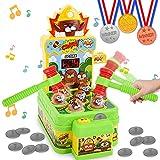 Ulikey Juguete de Martillo, Golpea Topo Juego con 2 Martillos+12 Monedas, Mini Juego Arcade Electrónico, Juguetes Montessori Juego Interactivo de Golpear para Niños de 3 a 6 Años (Color)