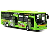 "Bocks Pull Back Bus Toy, Alloy Die Cast Toy Vehicles, 9"" Model Car, City Bus with Flash Lights Music (Green)"
