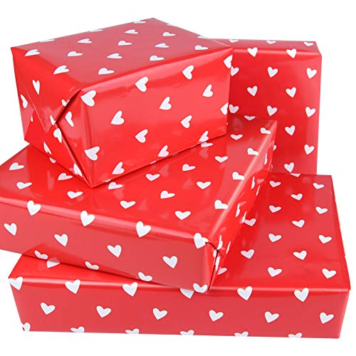PLULON 6 Blätter Valentinstag Geschenk Verpackung Papier, Herzen Bunt Geschenkpapier