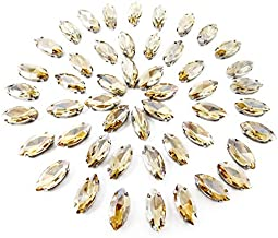 Honbay 50PCS 7x15mm (Sew on or Glue on) Horse Eyes Claw Rhinestones for Clothes, Bags, Shoes, Hats, DIY Crafts and More (Champagne)