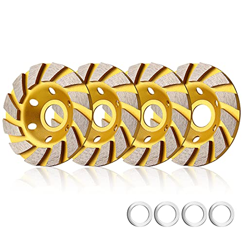 sansheng 4 Pieces Concrete Grinding Wheel 4 inch,Diamond Cup Wheel Angle Grinder Wheels Grinding of Concrete, Granite