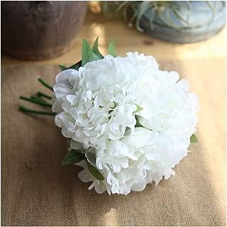 "Artfen 5 Heads Artificial Peony Silk Flower Fake Hydrangea Flowers Home Bridal Wedding Party Festival Bar Decor Approx 7.5"" in Diameter White"