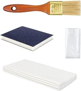 Hermann Sachse Schleifmatte K 320 für Holz mit Holzöl Pinsel Chinaborste, Handschuhe und Tücher
