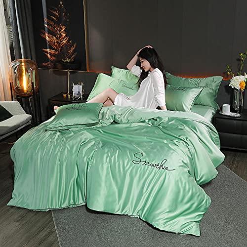 juegos de sábanas 150-Satin Duvet Funda Conjunto de talla grande / reina, cubierta de edredón de seda gris, lecho de satén sedoso suave con cierre de cremallera y corbatas conrt-W_1,8 m de cama (4 pi