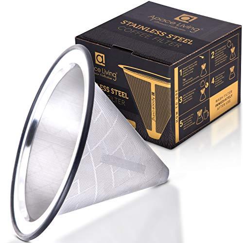 Kaffeefilter Edelstahl - Wiederverwendbarer Handfilter Kaffe Pour Over - Kaffeetropfer mit breiter Metallbasis - Perfekt für Chemex Hario Bodum & andere Kaffeebereiter – Papierloser Permanentfilter