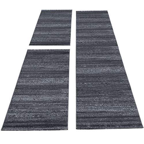 SIMPEX Bettumrandung Läufer Teppich Kurzflor Einfarbig Läuferset 3 teilig Schlafzimmer Flur Meliert Grau, Bettset:2x80x150+1X80x300