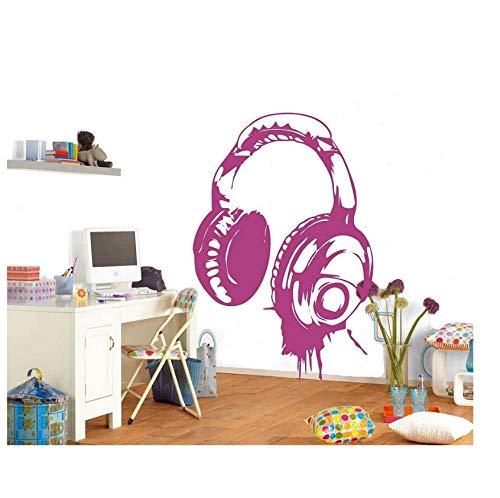 Auriculares Música Dj Pegatinas de pared Calcomanía de pared con diseño de arte disponible en diferentes colores Papel tapiz Decoración Niños Dormitorio Mural 40 * 60Cm