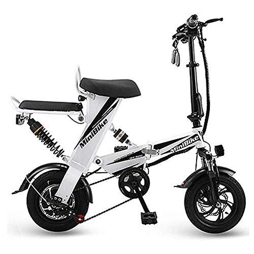 Bicicleta Plegable Eléctrica, Adulto Mini Eléctrica Plegable Bici del Coche Ligero Y Marco De Aluminio De Aleación De Aluminio Al Aire Libre De La Motocicleta De Viaje De Bicicletas,Blanco
