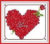 Amiiba Kits de punto de cruz estampados, flor de rosa en forma de corazón rojo flecha de Cupido DIY 11 ct 16 x 14 pulgadas (rosa)
