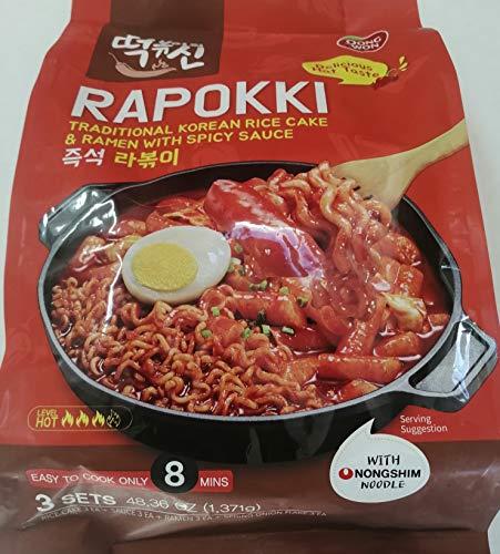 Rapokki | Rabokki Tapokki Tteokbokki - Traditional Korean Rice Cake and Ramen With Spicy Sauce 16.12 oz Each | Pack of 3