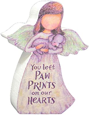 Dog Memorial Gift - Wooden Angel Holding Dog Figure - Includes Pet Sympathy Bereavement Card with Forget Me Not Paw Print