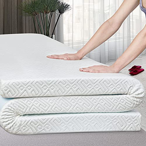 GOBEES 3 Inch Gel Memory Foam Mattress Topper Queen Size, High Density Cooling Pad Removable Fitted Bamboo Fiber Cover Ventilated Design, Comfort Body Support & Pressure Relief