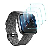 XIMU 4-Pack Screen Protector Compatible with Fitbit Versa/Versa Lite (Not for Versa 2), Waterproof Tempered Glass Screen Protector Cover Accessories for Versa Smartwatch No Bubble Anti-Scratch