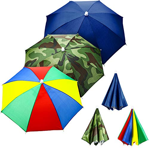 3 Pieces Rainbow Umbrella Hats Camouflage Fishing Cap Beach Umbrella Headband in (Style B)
