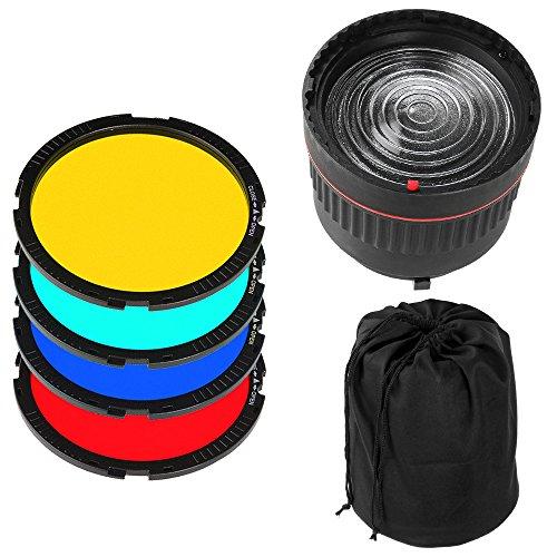 Fotga NG-10X - Obiettivo Bowens Berg Studio Light Fokus + 4 filtri colorati per flash a LED