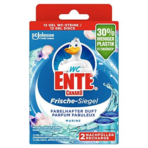 WC-Ente Frische-Siegel Nachfüller, körbchenloser WC-Reiniger, 12 Gel WC-Steine, Marine Duft, 5er Pack (5 x 72 ml)