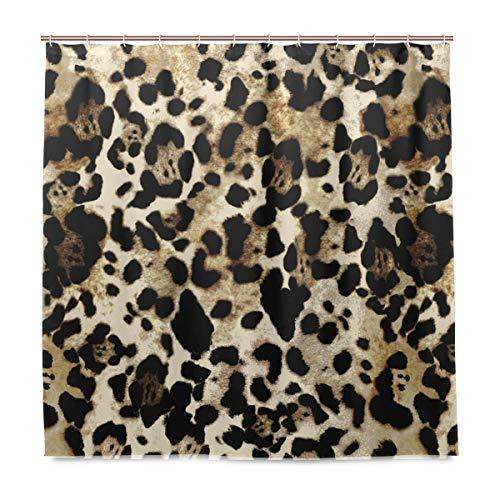 BIGJOKE Duschvorhang, Tier-Leoparden-Muster, schimmelresistent, wasserdicht, Polyester-Stoff, Badezimmer-Vorhang, 12 Haken, 182,9 x 182,9 cm, Heimdekoration