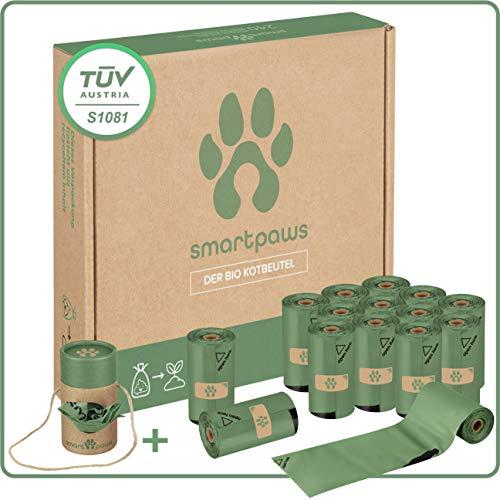 SMARTPAWS Hundekotbeutel biologisch abbaubar mit Bio Beutelspender | 240 zertifizierte Kotbeutel für Hunde | Extra große und Starke Hundebeutel für Sensible Hunde - Hund