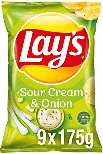 Lay's Sour Cream & Onion - Knusprig gewürzte Kartoffelchips für eine gelungene Party - 9 x 175g