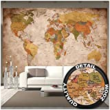 Murale vue usage - photo mur decoration carte géographie mondiale atlas continental map d une ecole ancienne - postere mur deco. Chez GREAT ART (336 x 238 cm)