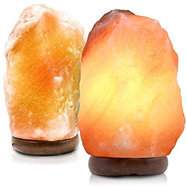 2 Pack Natural Crystal Himalayan Salt Lamp, Himalayan Glow Hand Carved Natural With Genuine Wood Base, Bulb Dimmer Control, Amber, 6 to 8 Inch, 6 to 7 lbs. By Makony