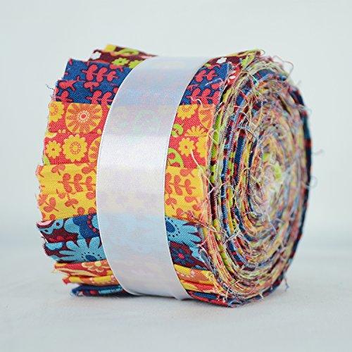 Hadson Craft Jelly Rolls Quilting Stof Vrijheid Funky Bloemen 100% Bedrukt Katoen Pak van 20 Strips 2,5 inch Breedte x 42 inch Lengte Ongeveer 1,25 Meter, Rood, Geel, Groen, Kastanjebruin, One Size