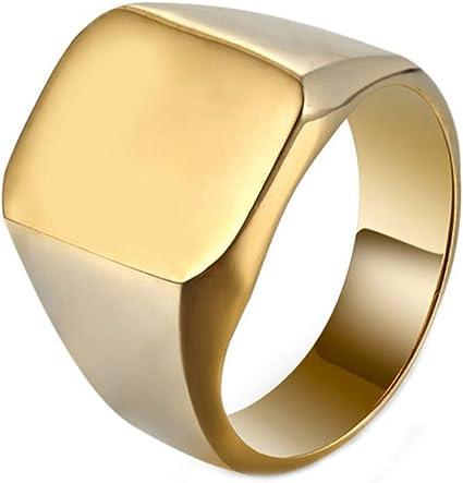 Eleusine Fashion Anillos Cuadrados Grandes Anchos Anillos De Sello De Acero De Titanio De 24 K Para Hombre Plata Oro Negro Joyería Para Hombre Aleación Talla 7 Clothing