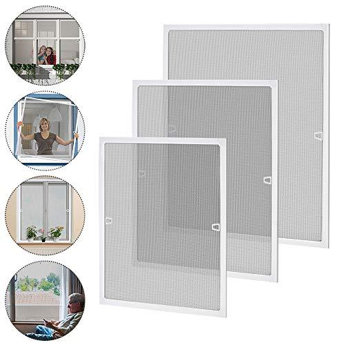 Aufun 100 x 120 cm Fliegengitter Fenster Fliegenschutz Insektenschutz Fliegengittertüren mit Aluminium Rahmen ohne Bohren und Schrauben für Fliegenschutz Moskitonetz Spannrahmen - Weiß