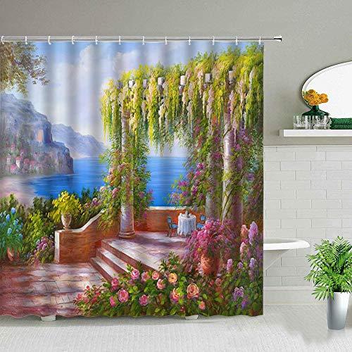 WERTY 3D Nordic Italie Street Street Rideau Rideau Garden Fleurs De Jardin Design Rétro Design Rideaux Tissu imperméable Home Home Decor-2781G_70x83in-180x210cm