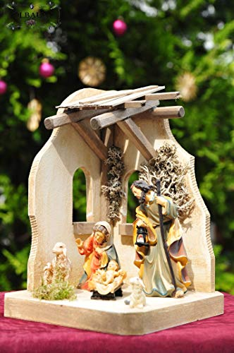 ÖLBAUM Krippenbeleuchtung + Kleine Weihnachtskrippe MIT 6-TLG. Premium-Krippenfiguren, Krippenstall mit Heiliger Familie Maria, Josef, 2 Schafe, Jesus und Krippchen, mit Holzdach