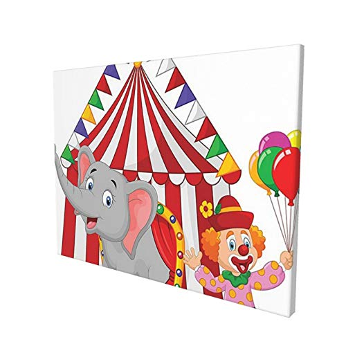 Circus Decor Cartoon Cute Elephant Standing With Clown With Circus Tent Enjoyment Funfair Illustration Painting Premium Panoramic Canvas Wall Art Painting 12'X 16'