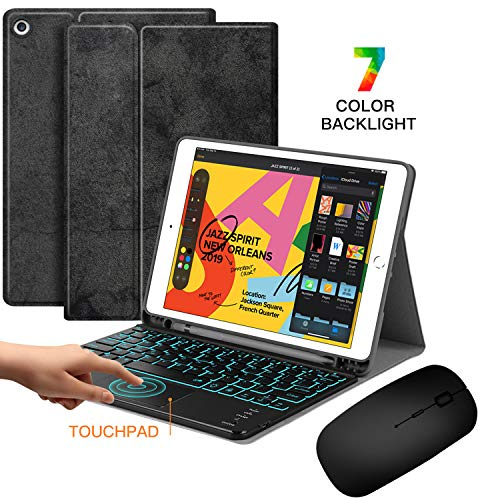 Backlit Touchpad Keyboard Case with Wireless Mouse - JUQITECH Portable Smart Case with Bluetooth Rechargeable Detachable Keyboard Mouse for iPad 7th Generation 10.2 2019