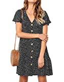 Ajpguot Verano Mujer Impresión Mini Vestidos de Playa Elegante Corto Dress de Partido Sundress V-Cuello Manga Corta Vestido con Boton (XL, 101124 Negro)