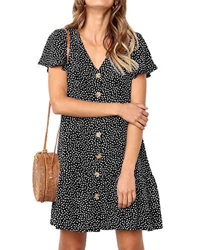 Ajpguot Verano Mujer Impresión Mini Vestidos de Playa Elegante Corto Dress de Partido Sundress V-Cuello Manga Corta Vestido con Boton (L, 101124 Negro)